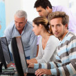 Stock Photo: Mature students at computers