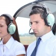 Man and woman in a light aircraft — Stock Photo #7905969