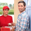 Pizza delivery service — Stockfoto
