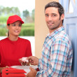 Pizza delivery service — Stock Photo
