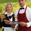 Waiter and waitress serving wine — Stock Photo