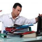 An overwhelmed executive. — Stock Photo