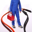 Positive And Negative Jumper Cables - Stock Photo