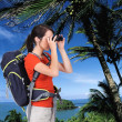 Tourist taking photograph — Stock Photo