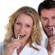 Womand mbrushing teeth — Stock Photo #7907227