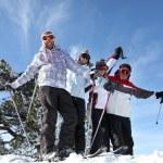 Young having fun at ski holidays — Stock Photo
