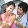 Couple camping in tent — Stock Photo #7908442