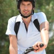 25 years old man doing mountain bike — Stock Photo #7908471
