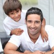 Father and son in tent — Stock Photo #7908792