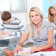 Pupil smiling in geography lesson — Stock Photo #7909420