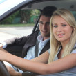 Girl in driving lesson — Stock Photo