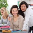 Mature students with laptops — Stock Photo