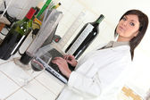 An oenologist in her lab — Stock Photo