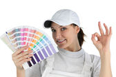 Decorator holding swatch — Stockfoto