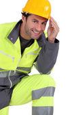Traffic guard touching his hard hat — Stock Photo