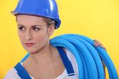 Female plumber — Foto Stock