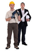 Builder stood with architect — Stock Photo