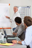 Young men in classroom with trainer — Stock Photo