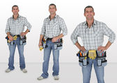 Photo-montage of laborer, studio shot — Stock Photo
