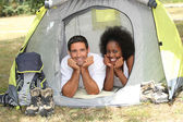 Couple in a tent — Stock Photo