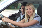 Girl in driving lesson — Foto Stock