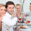 Royalty-Free Stock Photo: Dinner party discussions