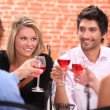 Two couple at a restaurant — Stock Photo