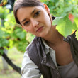 Woman in a vineyard — Stock Photo