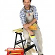 Carpenter with a handsaw — Stock Photo #7911118