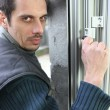 Man fitting a window lock — Stock Photo