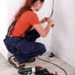Electrician installing electrical wiring — Stock Photo