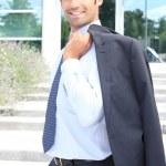 Businessman leaving office — Stock Photo