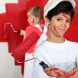 Children dressed as painters — Stock Photo #7915018