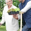 Foto Stock: Mother and son gardening