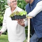 mãe e filho de jardinagem — Foto Stock