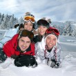 Group of friends on a skiing holiday together — Stock Photo #7915739