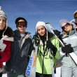 Group of teenagers on a ski trip — Stock Photo