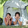 Stock Photo: Couple lying in tent