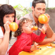 Parents and little boy preparing Halloween party — Stock Photo