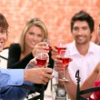 Foto Stock: 2 couples enjoying meal together