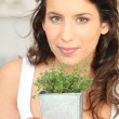 Young woman with herb - Stock Photo