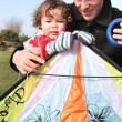 Father and little with kite — Stock Photo