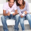 Stock Photo: Couple playing computer games