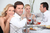 Dinner party discussions — Stock Photo