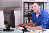 Factory worker in his office — Stock Photo