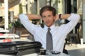 Businessman having a coffee — Stock Photo