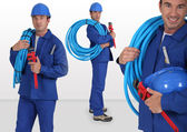 Photo-montage of plumber on white background — Stock Photo