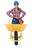 Annoyed girl in a barrow isolated on white background — Stock Photo