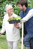 Mother and son gardening — Stock Photo