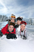 Group of friends on a skiing holiday together — Stock Photo